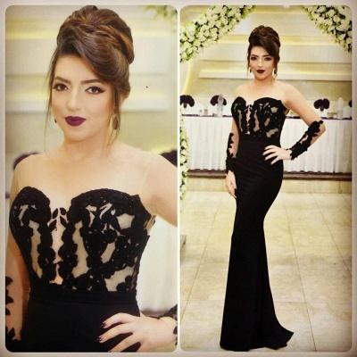 Sexy Mermaid Black Evening Dress  Long Sleeve Appliques Sheer Formal Dress_3