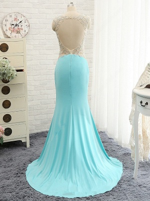 Goregeous Blue Crystal Summer Prom Dresses Mermaid Long Open Back Evening Gowns_3