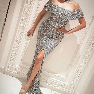 Off The Shoulder Silver Sequins Shiny Evening Gown Front Slit Sexy Prom Dress  BA7006_3