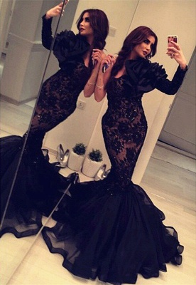 Black One Shoulder Prom Dresses Mermaid Lace Arabic Style Evening Dress BA2189_1