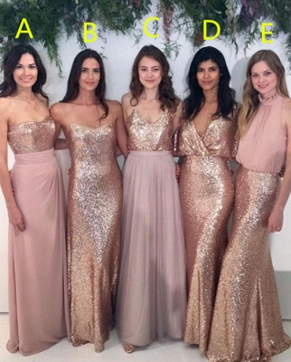 Sexy Sequins  Bridesmaid Dresses | Chiffon Floor Length  Maid Of Honor Dresses Online_1
