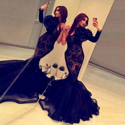 Black One Shoulder Prom Dresses Mermaid Lace Arabic Style Evening Dress BA2189_3