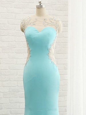 Goregeous Blue Crystal Summer Prom Dresses Mermaid Long Open Back Evening Gowns_4