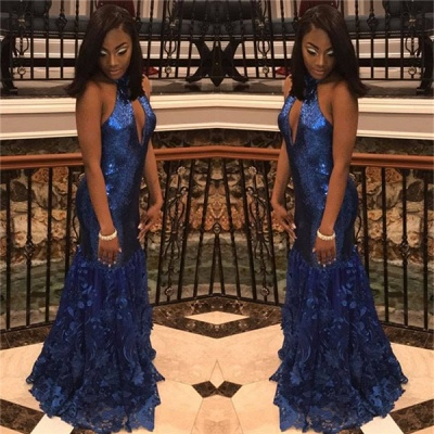 Royal Blue Halter Mermaid Sequins Prom Dresses Lace Sleeveless Evening Gowns with Keyhole_3