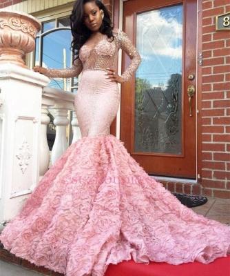 Sleeves Pink Appliques Mermaid Beadings Elegant Long Prom Dress qq0235_3