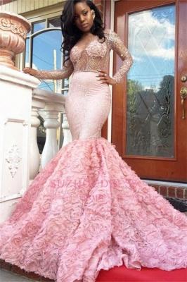Sleeves Pink Appliques Mermaid Beadings Elegant Long Prom Dress qq0235_2