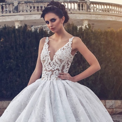Lace Appliques Sexy Sleeveless Wedding Dresses | Princess Ball Gown V-neck  Bridal Gowns_3