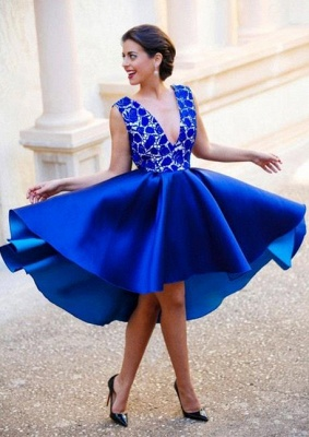 New Arrival V-Neck Royal Blue Short Homecoming Dress Sleeveless Lace Cocktail Gowns_1