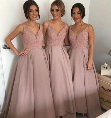 Gorgeous A-Line Soft Pink Beading  Bridesmaid Dresses Natural Sleeveless Long Women Dresses BA4010_1