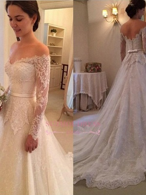 Long Sleeves Off-The-Shoulder New Arrival Bridal Gowns Lace  Wedding Dress_2