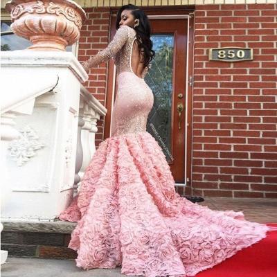 Sleeves Pink Appliques Mermaid Beadings Elegant Long Prom Dress qq0235_5