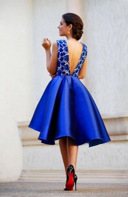 New Arrival V-Neck Royal Blue Short Homecoming Dress Sleeveless Lace Cocktail Gowns_3