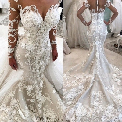 Gorgeous Mermaid Tulle Lace White Wedding Dresses Appliques Long-Sleeves Bridal Gowns On Sale_3