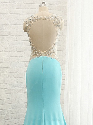 Goregeous Blue Crystal Summer Prom Dresses Mermaid Long Open Back Evening Gowns_5