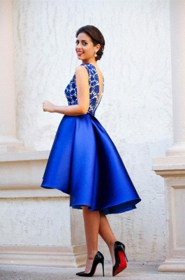New Arrival V-Neck Royal Blue Short Homecoming Dress Sleeveless Lace Cocktail Gowns_6