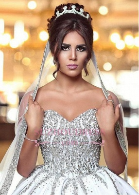 Gorgeous Sweetheart Ball-Gown Beading Sleeveless Wedding-Dresses Bridal Gowns_3
