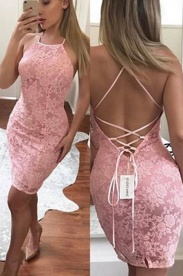 Sexy Sheath Pink Lace Homecoming Dresses  Backless Short Cocktail Dresses_1