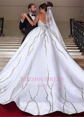 Gorgeous Sweetheart Ball-Gown Beading Sleeveless Wedding-Dresses Bridal Gowns_4