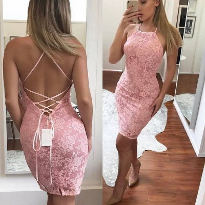 Sexy Sheath Pink Lace Homecoming Dresses  Backless Short Cocktail Dresses_3