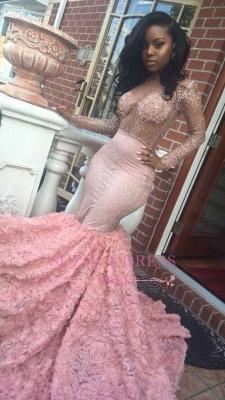 Sleeves Pink Appliques Mermaid Beadings Elegant Long Prom Dress qq0235_4
