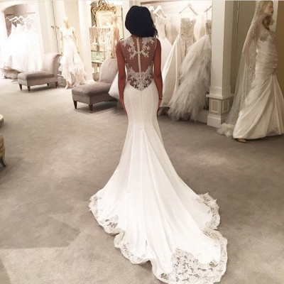 Sexy Mermaid Wedding Dresses Sheer Mesh Bridal Gowns with Lace Court Train BA3369_3