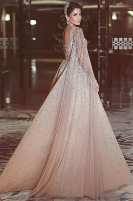 Sexy Full Beads Sequins Open Back Evening Dresses Luxurious Pink Prom Dress with Cape Sleeves BA7360_3
