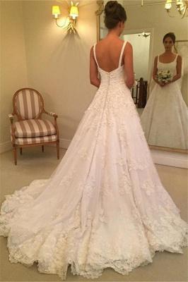 Elegant Straps A-line Wedding Dresses  | Lace Appliques Open Back Bridal Gowns with Buttons_3