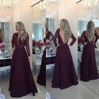 New Arrival Sleeved Burgundy Prom Dresses  Lace Beading Evening Gown BA1924_3