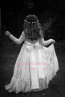 Lace Modern Bow Flower Length Girls Pageant Dress Long Sleeve Flower Girl Dress