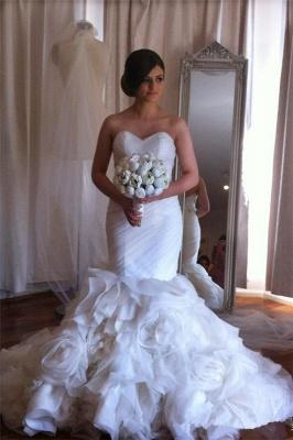 Elegant  Sweetheart Mermaid Wedding Dresses Ruffles Floral Beaded Bridal Gowns BO2676_1