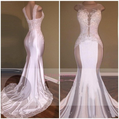 Sexy Mermaid Appliques Sheer Evening Gown  White Beading Lace Glossy Prom Dresses_1