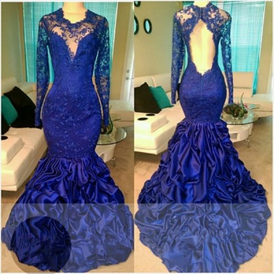 Gorgeous  Royal Blue Long Sleeve Lace Prom Dress Ruffles Mermaid Open Back Evening Gown_3
