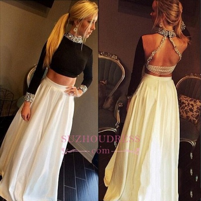 Long-Sleeves Crystal Two-Pieces High-Neck Sexy A-Line Prom Dress_1