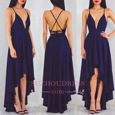 Spaghetti StrapS   Evening Gown Hi-Lo Sleeveless Sexy A-line Formal Dress_1