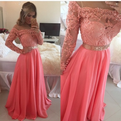 Lace Chiffon  New Prom Dresses Gold Belt Long Sleeve Beaded Evening Gowns BO7998_3