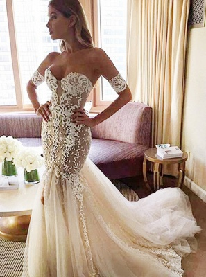 Sexy Strapless Mermaid Bride Dress  Open Back Sweetheart Wedding Dress with Long Tulle Train_3
