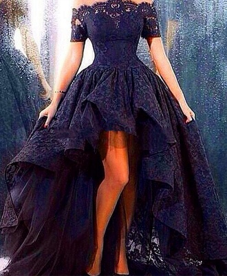 Bateau Sexy Navy Short Sleeve Lace Evening Dress New Arrival Hi-Lo Plus Size Prom Dresses TB0156_1