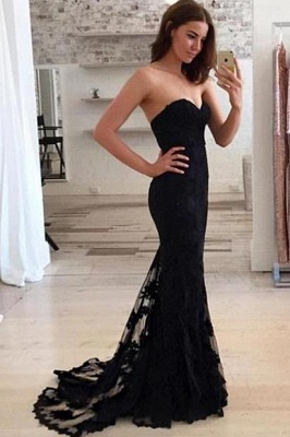 Sweetheart Elegant Sheath Black Lace Appliques Evening Gowns  Long Prom Dresses BA3920_3