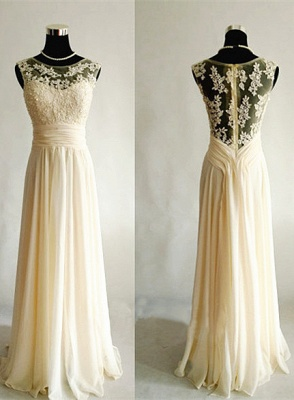 Light Champagne   Long Popular Prom Dresses with Sheer Back Chiffon Evening Dresses_1