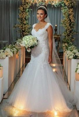 New Arrival Mermaid Floor Length Wedding Dress Elegant Lace Open Back Bridal Gowns_1
