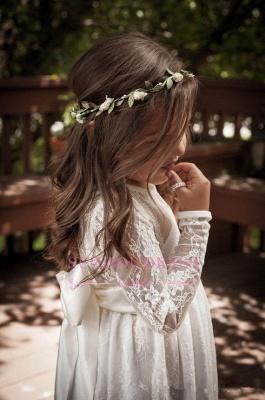 Lace Modern Bow Flower Length Girls Pageant Dress Long Sleeve Flower Girl Dress_4