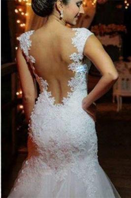 New Arrival Mermaid Floor Length Wedding Dress Elegant Lace Open Back Bridal Gowns_3