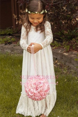 Lace Modern Bow Flower Length Girls Pageant Dress Long Sleeve Flower Girl Dress_6