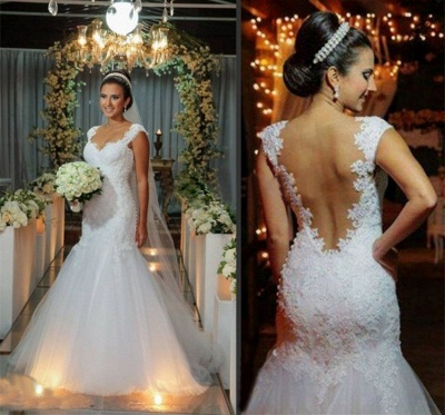 New Arrival Mermaid Floor Length Wedding Dress Elegant Lace Open Back Bridal Gowns_4