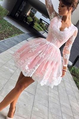 Deep V-Neck Long Sleeves  Hoco Dresses Pink Short Lace Homecoming Dresses_4