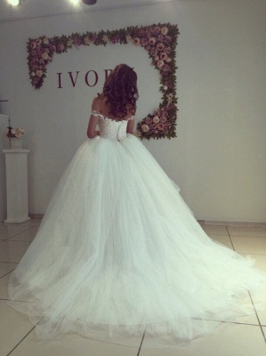 Off the Shoulder Ball Gown Wedding Dresses Tulle Lace Applique Princess Bridal Dress_3