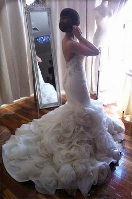Elegant  Sweetheart Mermaid Wedding Dresses Ruffles Floral Beaded Bridal Gowns BO2676_3