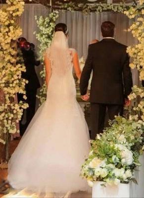 New Arrival Mermaid Floor Length Wedding Dress Elegant Lace Open Back Bridal Gowns_2