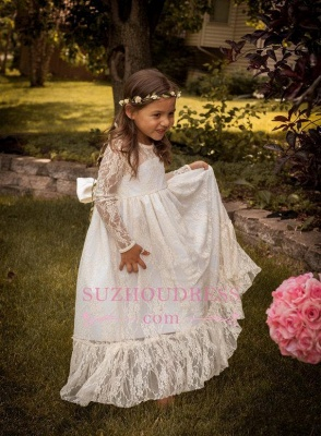 Lace Modern Bow Flower Length Girls Pageant Dress Long Sleeve Flower Girl Dress_3