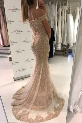 Off the Shoulder Lace Mermaid Evening Dresses | Sweep Train Buttons Lace Prom Dress_3